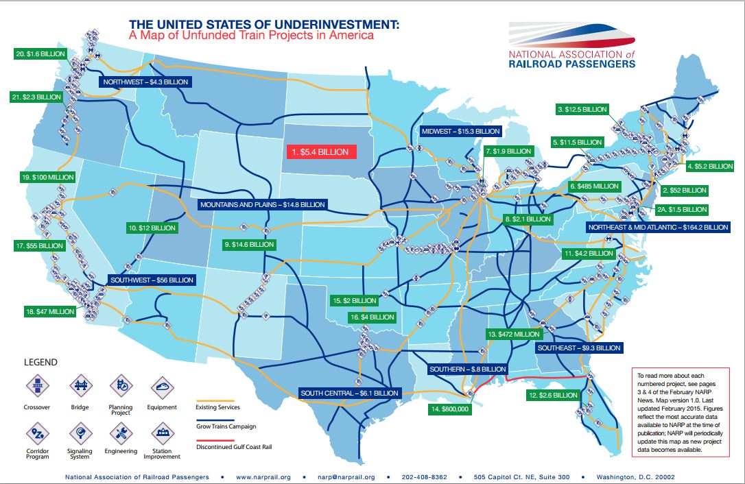 Amtrak Nc Map.The United States Of Underinvestment Rail Passengers Association