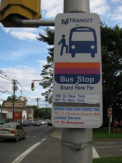 NJT bus stop in Bergenfield, NJ. Photo by jasonik on Flickr.com.